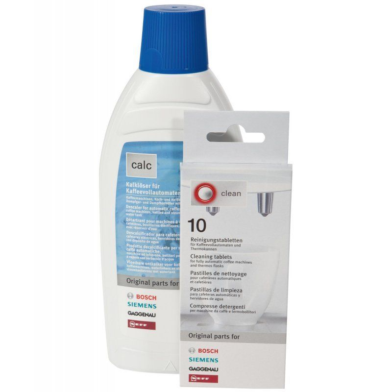 Maintenance pack for coffee machines Cleaning tablets and liquid descaler - 00311813 Bosch, Siemens, Neff